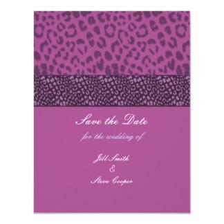 "Purple Leopard Pattern Save the Date 4.25"" X 5.5"" Invitation Card"