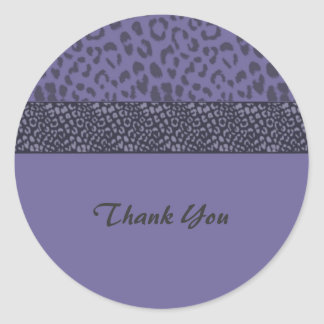 Purple Leopard Pattern Thank You Classic Round Sticker