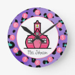 Purple Leopard Personalized Clock For Teachers