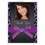 Purple Leopard Photo Thank You Cards
