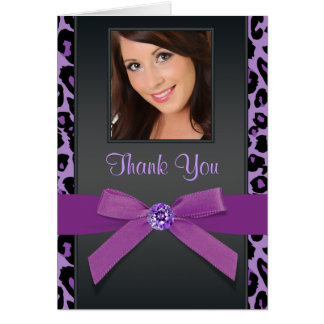 Purple Leopard Photo Thank You Cards Note Card