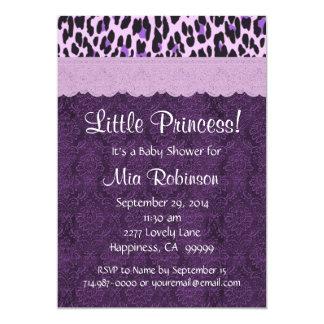 Purple Leopard Princess Girl Baby Shower S21K 5x7 Paper Invitation Card
