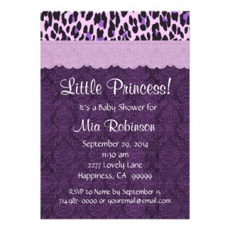 Purple Leopard Princess Girl Baby Shower S21K Personalized Invitations