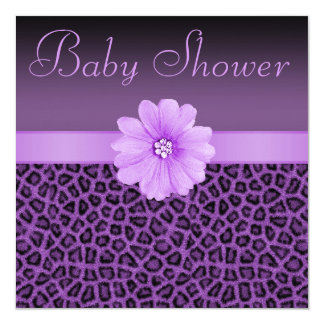 Purple Leopard Print  & Bling Flower Baby Shower Card