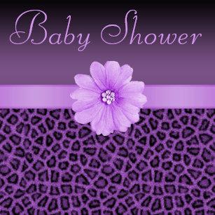 Leopard print baby shower invitations zazzle purple leopard print bling flower baby shower invitation filmwisefo