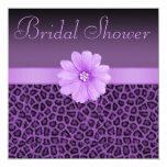 Purple Leopard Print  & Bling Flower Bridal Shower 5.25x5.25 Square Paper Invitation Card