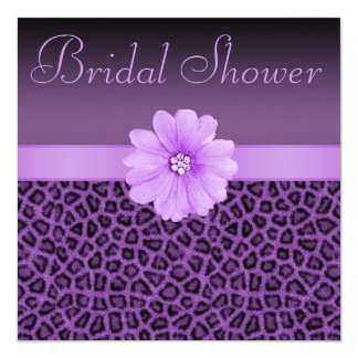 Purple Leopard Print  & Bling Flower Bridal Shower 5.25x5.25 Square Paper Invitation Card