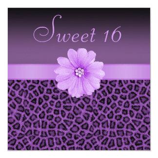 Purple Leopard Print  & Bling Flower Sweet 16 Card