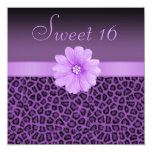 Purple Leopard Print  & Bling Flower Sweet 16 5.25x5.25 Square Paper Invitation Card