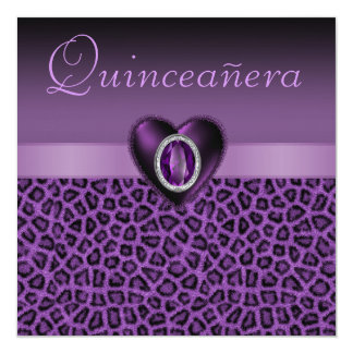 Purple Leopard Print & Bling Hearts Quinceanera Card