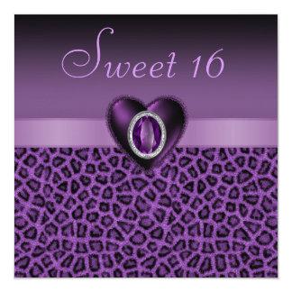 Purple Leopard Print & Bling Hearts Sweet 16 Card