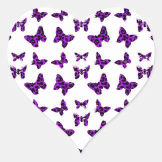 Purple Leopard Print Butterfly Pattern Heart Sticker