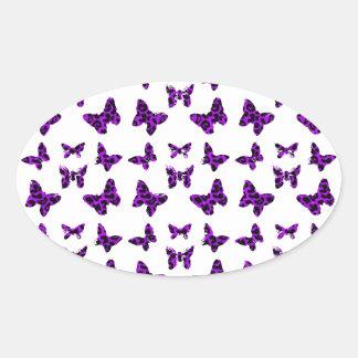 Purple Leopard Print Butterfly Pattern Oval Sticker