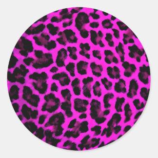 Purple Leopard Print Classic Round Sticker