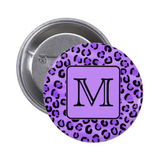 Purple Leopard Print Custom Monogram. 2 Inch Round Button