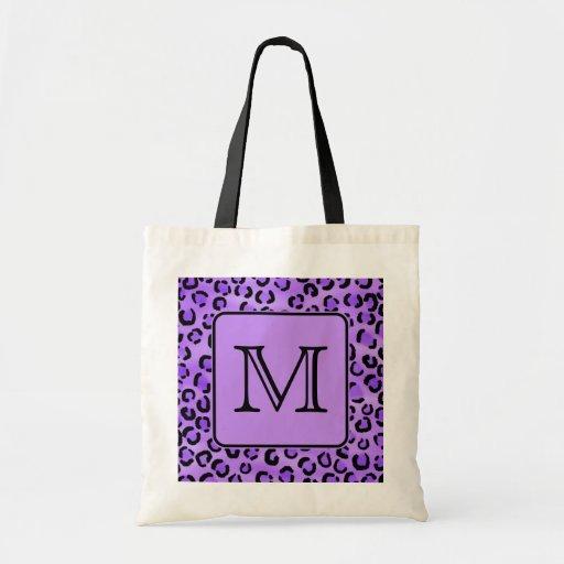 Purple Leopard Print Custom Monogram. Bag
