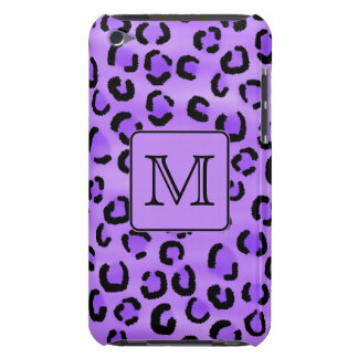 Purple Leopard Print Custom Monogram. Barely There iPod Case