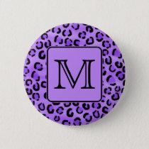 Purple Leopard Print Custom Monogram. Button