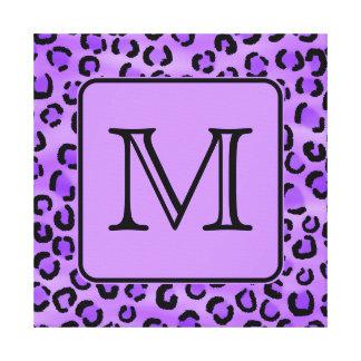 Purple Leopard Print Custom Monogram. Stretched Canvas Print