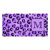 Purple Leopard Print Custom Monogram. Card