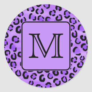 Purple Leopard Print Custom Monogram. Classic Round Sticker