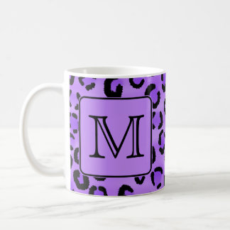 Purple Leopard Print Custom Monogram. Coffee Mug