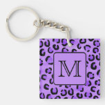 Purple Leopard Print Custom Monogram. Acrylic Keychains