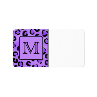 Purple Leopard Print Custom Monogram Personalized Address Labels