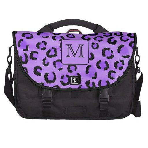 Purple Leopard Print Custom Monogram. Bags For Laptop