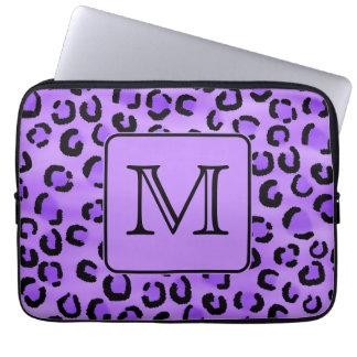 Purple Leopard Print Custom Monogram. Computer Sleeves