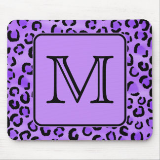 Purple Leopard Print Custom Monogram. Mouse Pad