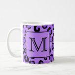 Purple Leopard Print Custom Monogram. Classic White Coffee Mug