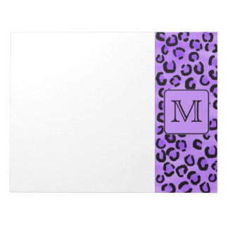 Purple Leopard Print Custom Monogram. Note Pad