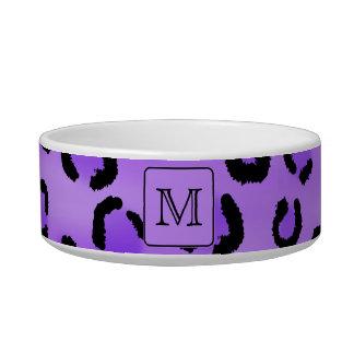 Purple Leopard Print Custom Monogram. Pet Water Bowl