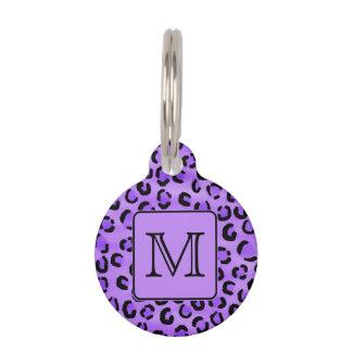 Purple Leopard Print Custom Monogram. Pet Name Tag