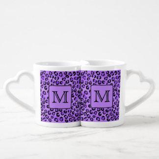 Purple Leopard Print Custom Monogram. Lovers Mug Set