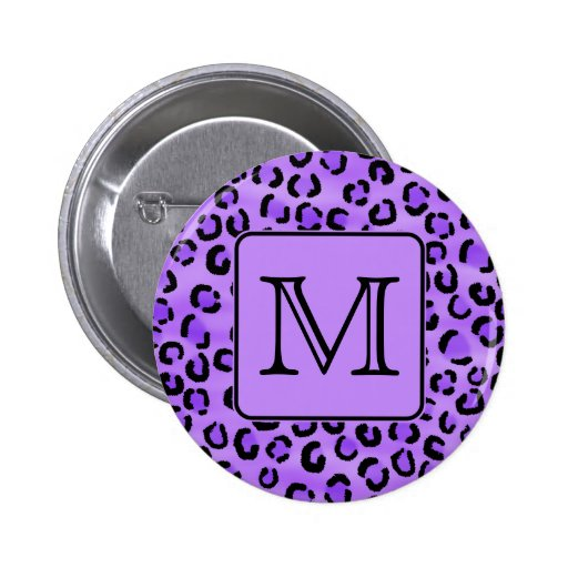 Purple Leopard Print Custom Monogram. Pins