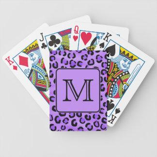 Purple Leopard Print Custom Monogram Deck Of Cards