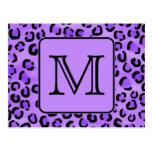 Purple Leopard Print Custom Monogram. Postcards
