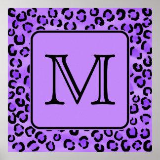 Purple Leopard Print Custom Monogram.