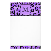Purple Leopard Print Custom Monogram. Stationery