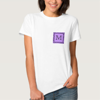 Purple Leopard Print Custom Monogram. T-Shirt