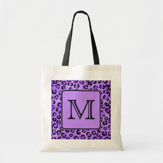 Purple Leopard Print Custom Monogram. Tote Bag