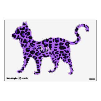 Purple Leopard Print Kitty Wall Sticker