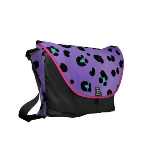 Purple Leopard Print Messenger Bag