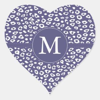 Purple Leopard Print Monogram Heart Sticker
