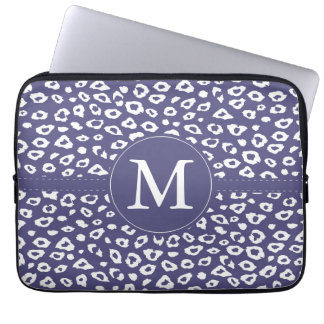 Purple Leopard Print Monogram Computer Sleeve