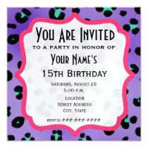 Purple Leopard Print Party Invitation
