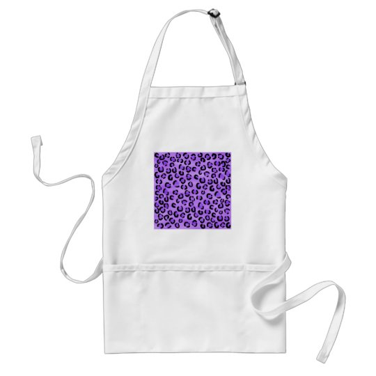 Purple Leopard Print Pattern. Adult Apron