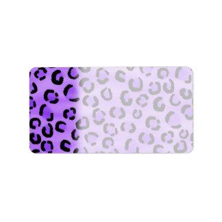 Purple Leopard Print Pattern Labels